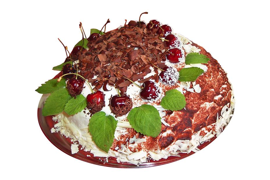 Einstöckige Torte mit Kirsch- und Blattdekoration